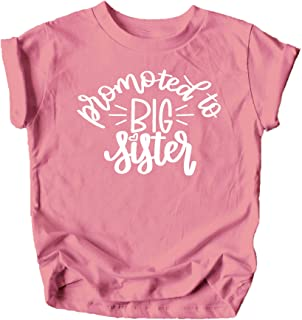 Promoted to Big Sister Colorful Announcement T-Shirt for Baby and Toddler Girls Sibling Outfits