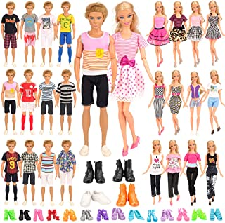 Barwa 24 Accessories Selected Randomly for 11.5 - 12 Inch Girl Boy Dolls and 12 Inch Boy Dolls: 6 Clothes + 4 PCS Shoes fo...