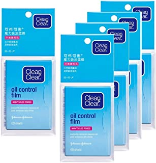 Oil Control Film, Same Series with Clean & Clear Oil Absorbing Sheets for Oily Skin Care, Blotting Paper to Remove Excess & Shine, 60 Sheets (Pack of 5)