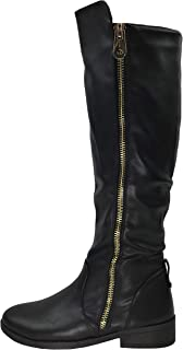 Wells Collection Womens Fiorina Knee High Boots Soft Faux Suede Flat Heel with Side Zipper
