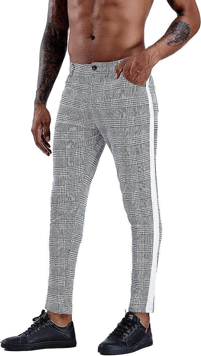 FFERZOTEX Men's Gray Plaid List price 2021 model Slim Flat-Front Skinny Stretch Dr Fit