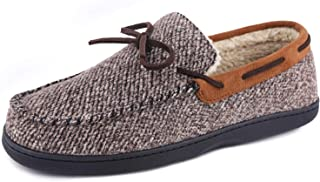 LongBay Men's Comfort Memory Foam Moccasin Slippers Micro Suede Wool Plush Slip-on House Shoes Indoor Outdoor