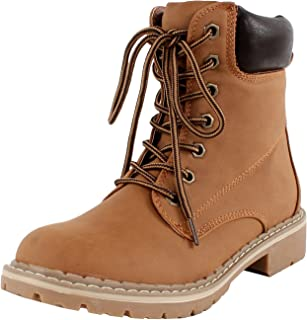Forever Women's Broadway-3 Lace-up Combat Style Ankle-High Low Heel Boots