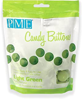 PME Candy Buttons - Light Green . 340 grams / 12 Oz. Like Wilton Melts. Perfect for Cake Pops and other Candy & Chocolate Making by The Baker Shop
