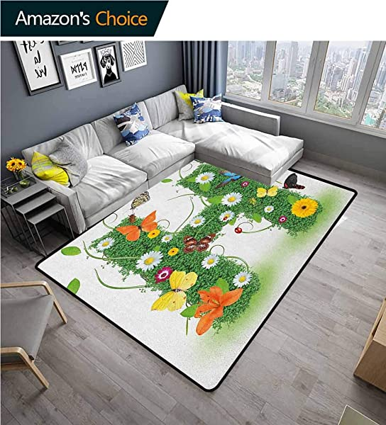YucouHome Letter H Moroccan Area Rug For Girls Room Ornamental H With Summer Effects And Dahlia Ladybug Daisy Initials Artsy Concept Fashionable High Class Living Dinning Room 2 5 X 9 Multicolor