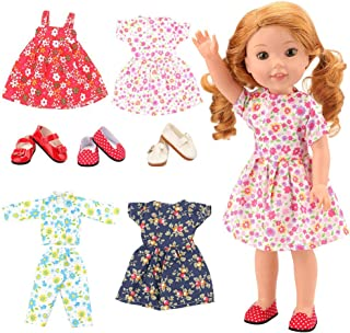 BARWA 14 inch Doll Clothes 4 Dress 3 Pair of Shoes Accessories Doll Clothes Compatible for 14 inch 14.5inch Doll