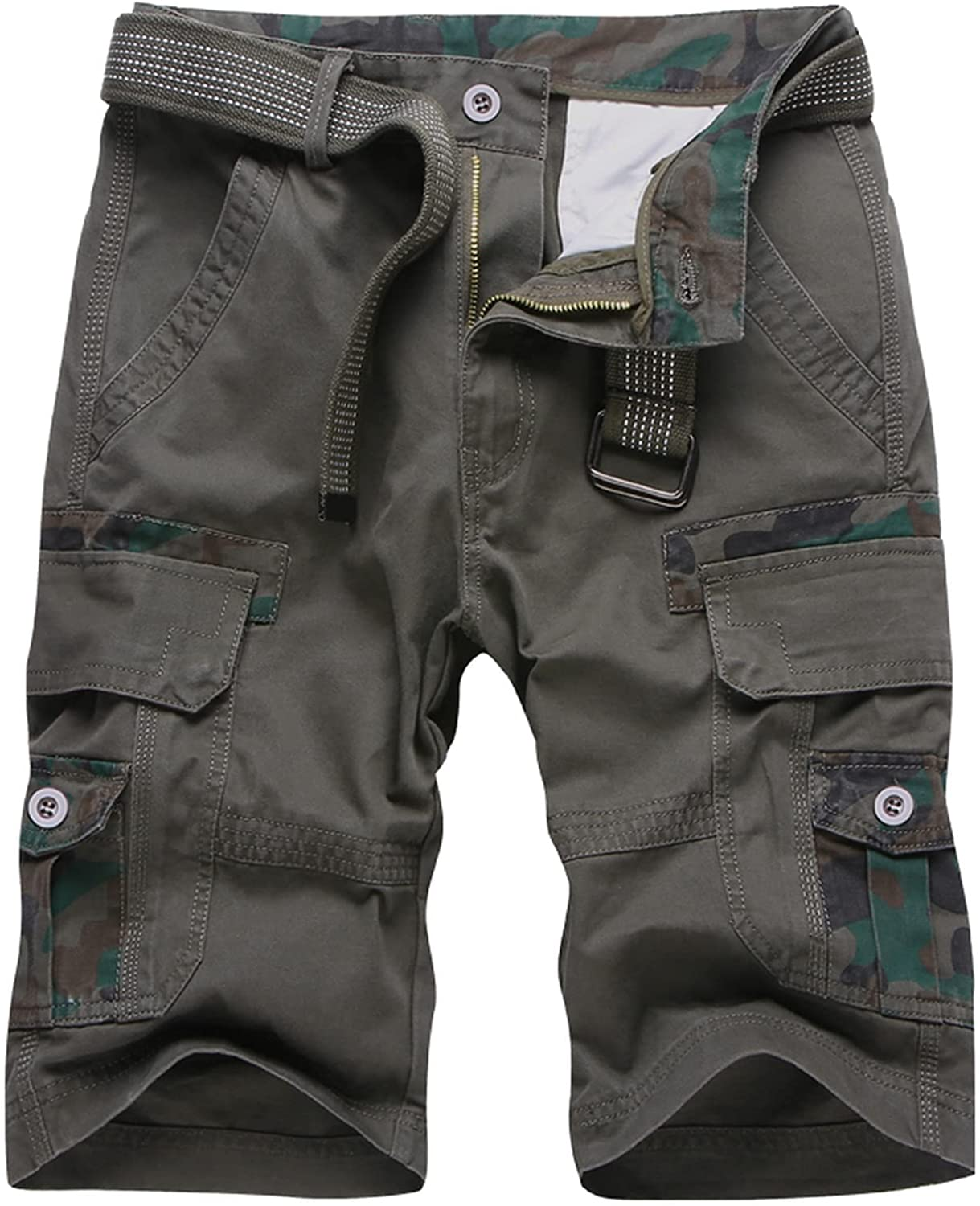 Dellk Men's Shorts Cargo Military Solid Casual Tactical Short Multi Pocket Fitness Loose Work Summer Male 4 Colors Pants