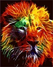 Painting by Numbers DIY Oil Painting for Adult Red, Yellow, Lion, Animal Canvas Print Wall Art Decoration 40X50Cm