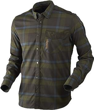 Härkila Camisa de caza para hombre de franela Angot L/S manga larga a cuadros verde – Camisa de franela elástica con ajuste activo – Camisa de leñador ...