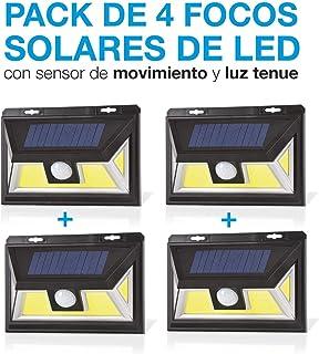 comprar comparacion Pack de 4. Foco Solar Led con Sensor de movimiento. Foco Solar con Sistema Microled Ultima tecnologia. Luz Blanco Super Po...