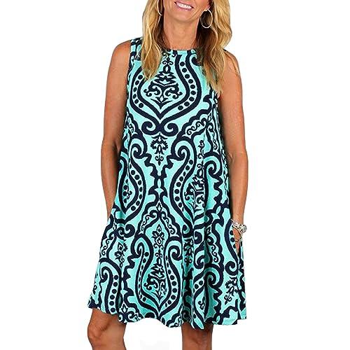 e6b749a6a ZESICA Women's Summer Sleeveless Damask Print Pocket Loose T-Shirt Dress