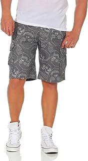 Zarmexx Men's Cotton Shorts Casual Bermuda Shorts Summer Trousers, Skull Loose Fit