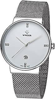 WWOOR Men's Rhinestone Date Quartz Watches Waterproof White
