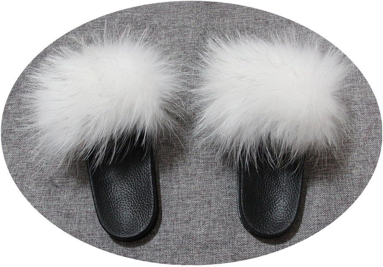 QMFUR Women Real Raccoon Fur Open Toe Single Strap Slip On Sandals (10, White)