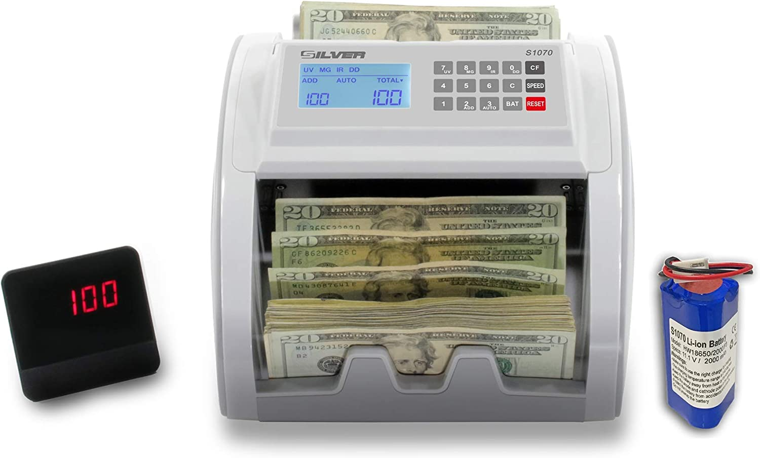 Price reduction SILVER By AccuBANKER Max 67% OFF S1070 Portable Counter External w Bill Rech
