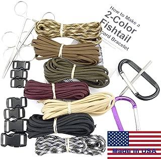 Paracord Survival Bracelet & Project Kit. 550 Parachute Cord, Buckles, Carabiners, Key Rings, Instructions, 2 eBooks. (