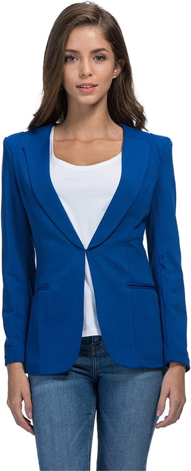 SHUIANGRAN Women's Slim Fit Notch Collar One Button Jacket Office Blazers bluee US 0 (tag Asian s)