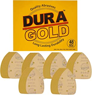 Dura-Gold - Premium Hook & Loop - 48 Sheet Variety Pack (60,80,120,220,320,400) Grit 5-Hole Hook & Loop Sanding Sheets for Mouse Sanders - Box of 48 Sandpaper Sheets for Automotive and Woodworking