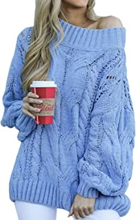 CILKOO Women V Neck Cable Knit Sweater Long Sleeve Oversize Chunky Pullover Jumper Outerwear(S-XXL)