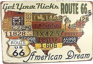 12x8 Inches Pub,bar,home Wall Decor Souvenir Hanging Metal Tin Sign Plate Plaque (ROUTE 66 AMERICAN DREAM)