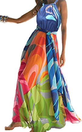 9cf8f2a48c2 YACUN Women s Sleeveless Halter Floral Cocktail Maxi Beach Dress