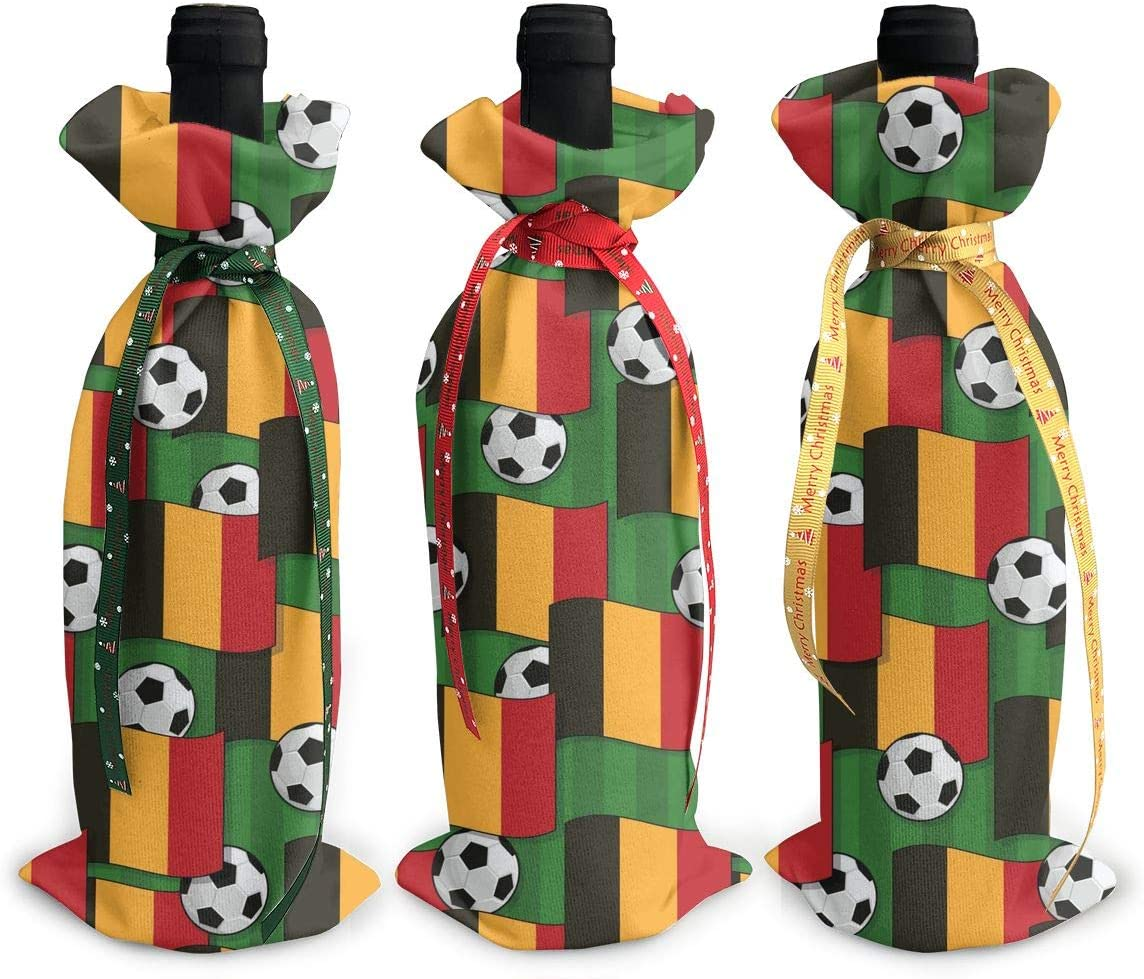 Belgium Flag Football Art3Pcs List price Christmas Glass Xmas Wine Bott Luxury goods Red