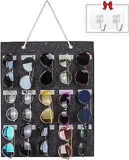 Yotako Sunglasses Storage Organizer, Hanging Eyeglass Storage Wall Mount,15 Slots Glasses Storage Wall Pocket Display Hanging on Door or Wall with 2 PCS Free Transparent Hooks (Grey