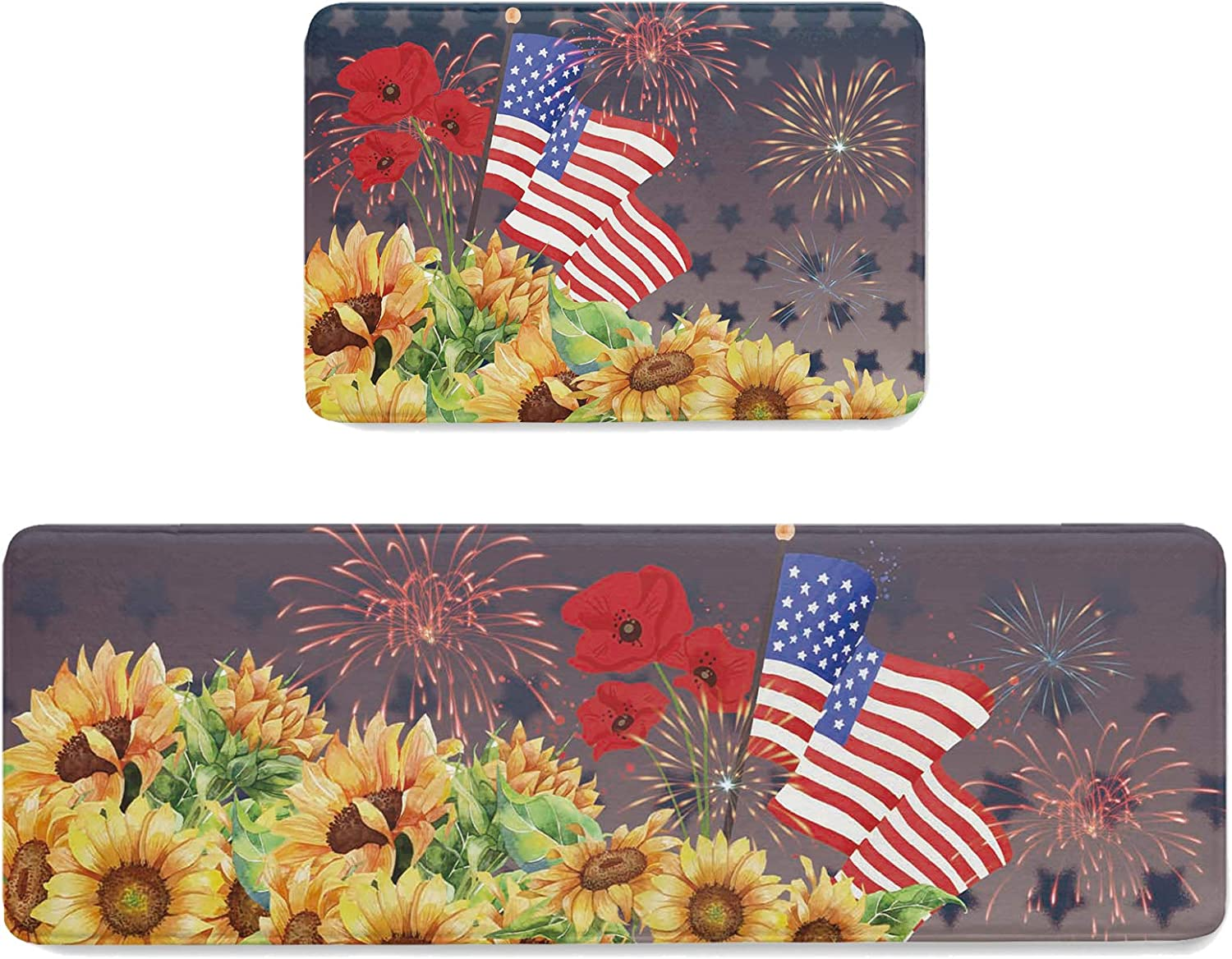 Independence Day Credence Kitchen Rug Set trend rank Piec 19.7x31.5in+19.7x47.2in 2