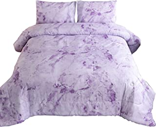 A Nice Night Closure-Printed Marble Ultra Soft Comforter Set Bed-in-a-Bag,Queen (New-Purple, Queen)