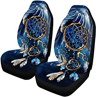 INTERESTPRINT Watercolor Dream Catcher with Eagle Car Seat Cover Front Seats Only Full Set of 2, Car Front Seat Cushion Fit Car, Truck, SUV or Van
