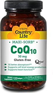 Country Life Maxi-Sorb CoQ10 30 mg - 120 Softgels - Supports Cell Level Production - May Support Heart Health - Promotes 3...