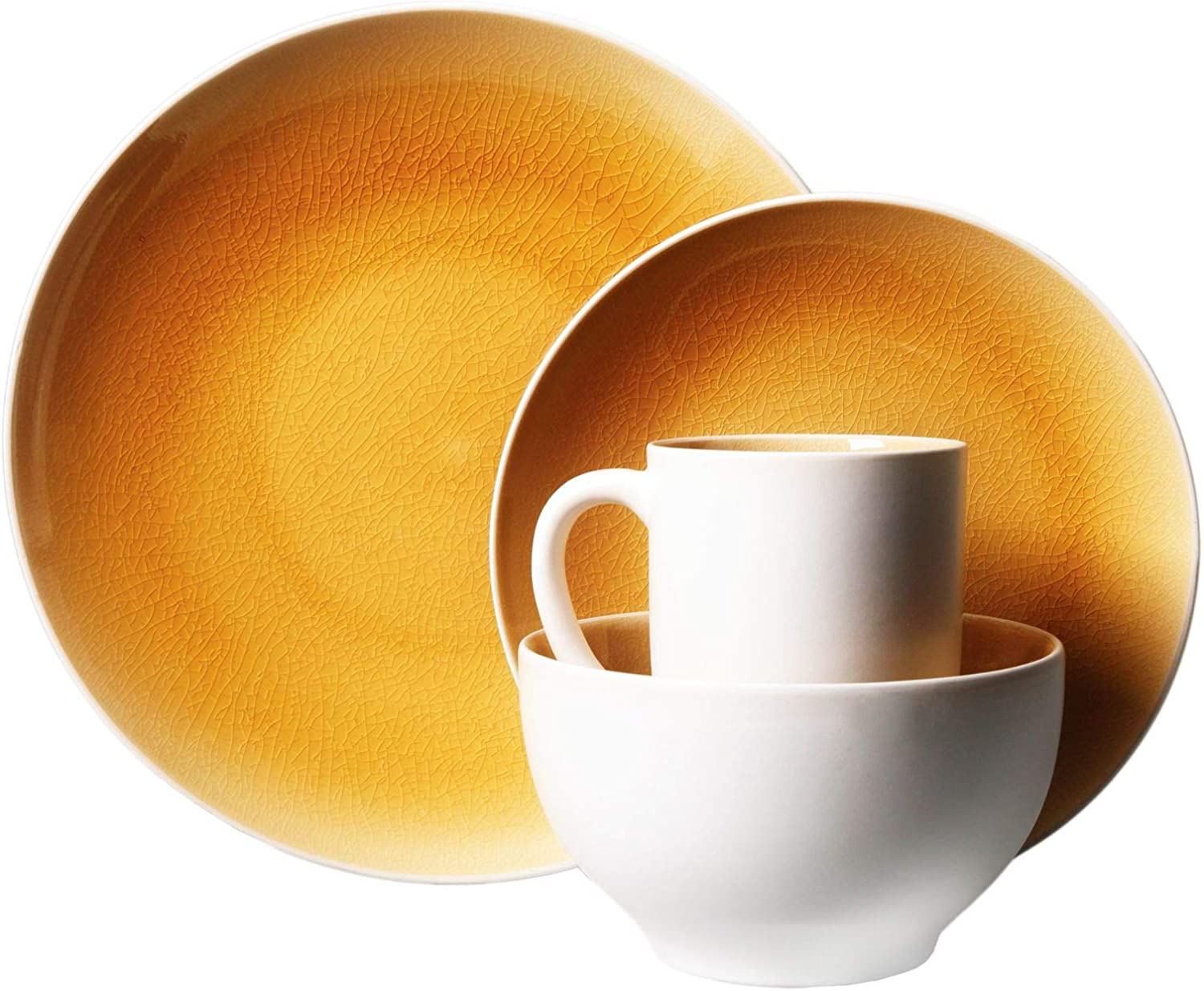 TRS-style Serenity amber 16 piece 45 Purchase Great interest Mod set- yellow dinnerware