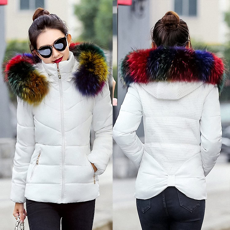 Womens Parka Winter Jacket Fake Raccoon Fur Collar Winter Coat Parkas Warm Down Jacket Female Outerwear