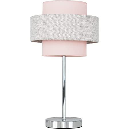 Modern Polished Chrome Touch Table Lamp with a Pink & Grey Herringbone Shade