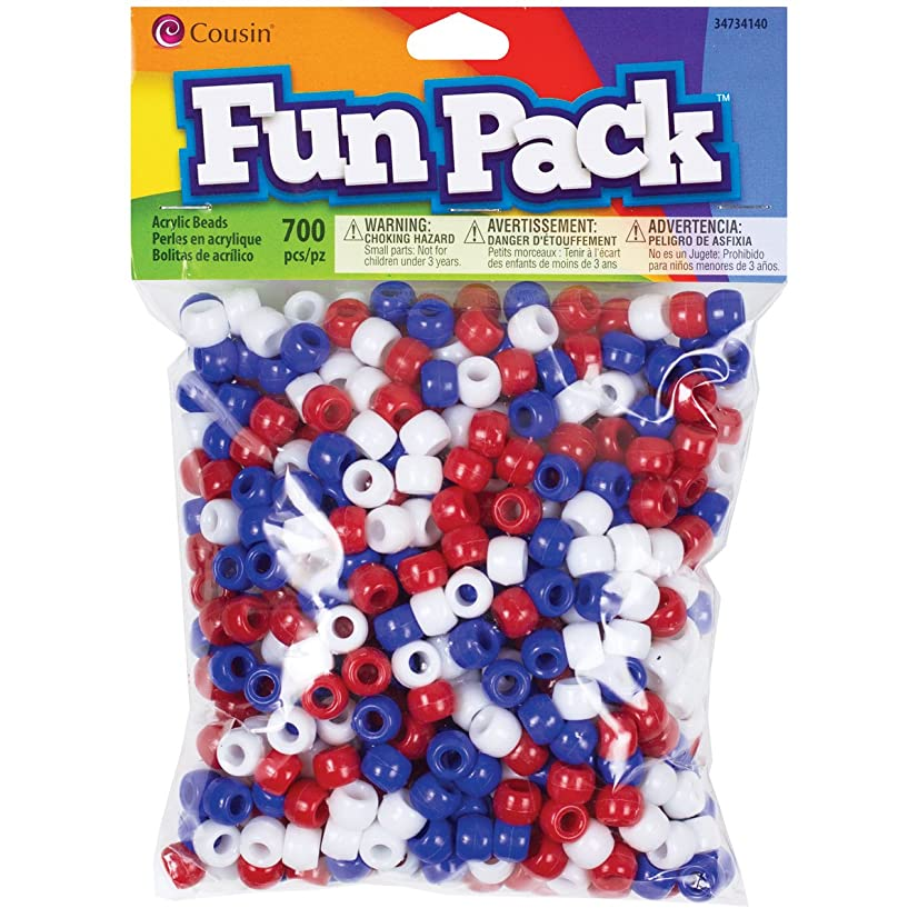 Cousin 34734140 Fun Packs 700-Piece Red/White/Blue Pony Beads