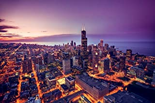 Chicago Illinois Skyline at Sunset Aerial View Willis Tower Photo Cool Huge Large Giant Poster Art 54x36