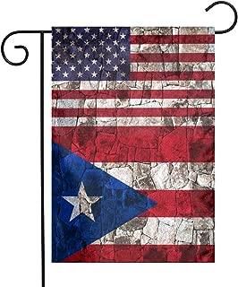 Puerto Rico Half American Flag Garden Flag Great Party Decor For Celebration,Festival,Home,Outdoor,Garden Decorations 12 X 18 Inch