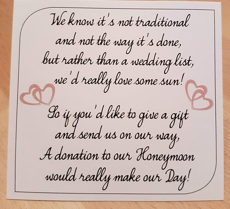 10 Personalised Wedding Money Poem//Honeymoon Wish Poems Card//Gift Poem Cards MP1-10