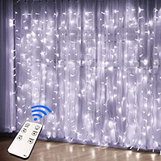 JMEXSUSS Remote Control 300 LED Window Curtain String Light for Wedding Party Home Garden Bedroom Outdoor Indoor Wall Decorations (White)