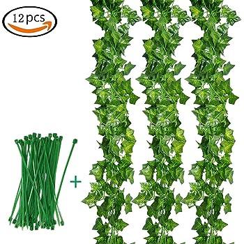 Hiedra Artificial, Tatuer Planta Artificial Decoración Balcón Planta Plástica Vintage 12 Piezas Hiedra Verde con Cables de Nylon Plantación Ifeuranke para Jardín Decoración de la boda (12 x 2.2 M): Amazon.es: Hogar
