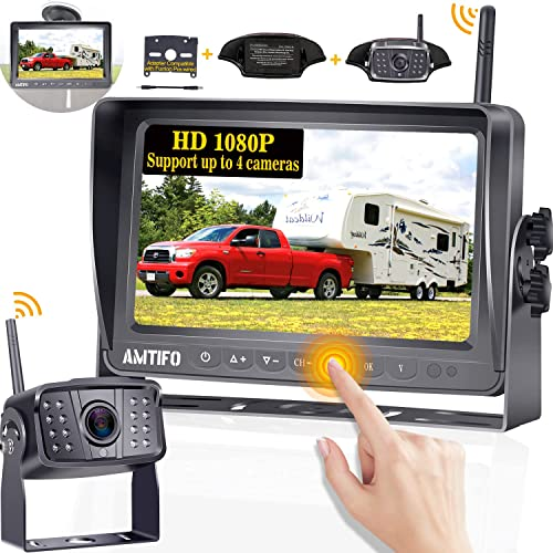 Emmako Digital Wireless Backup Camera High-Speed Observation System for Truck/RV/Trailers and 7'' Monitor Split Scree...