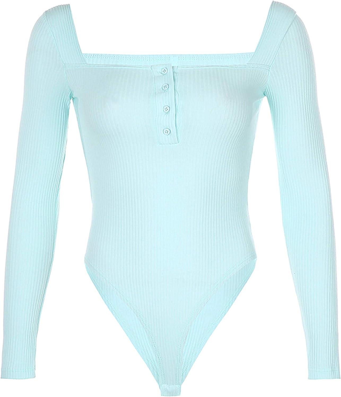 Lentta Women's Lightweight Basic Tight U Neck One-Piece Bodycon Bodysuits Shirts Tops