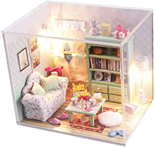 Ogrmar Wooden Dollhouse Miniatures DIY House Kit With Cover and Led Light-Relax Time