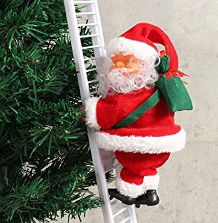 VEZARON 1 Pcs Electric Climbing Ladder Santa Claus Christmas Figurine Ornament Decoration Gifts for Xmas Party Home Door Wall Decoration (red, 25.6inch)