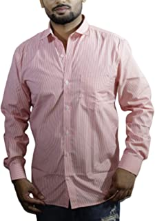 Spanish One Look Mens Casual Long Sleeve 100% Cotton Regular Fit Button Down Casual Shirts Dress in Pink Printed Stripped Shirt for Men