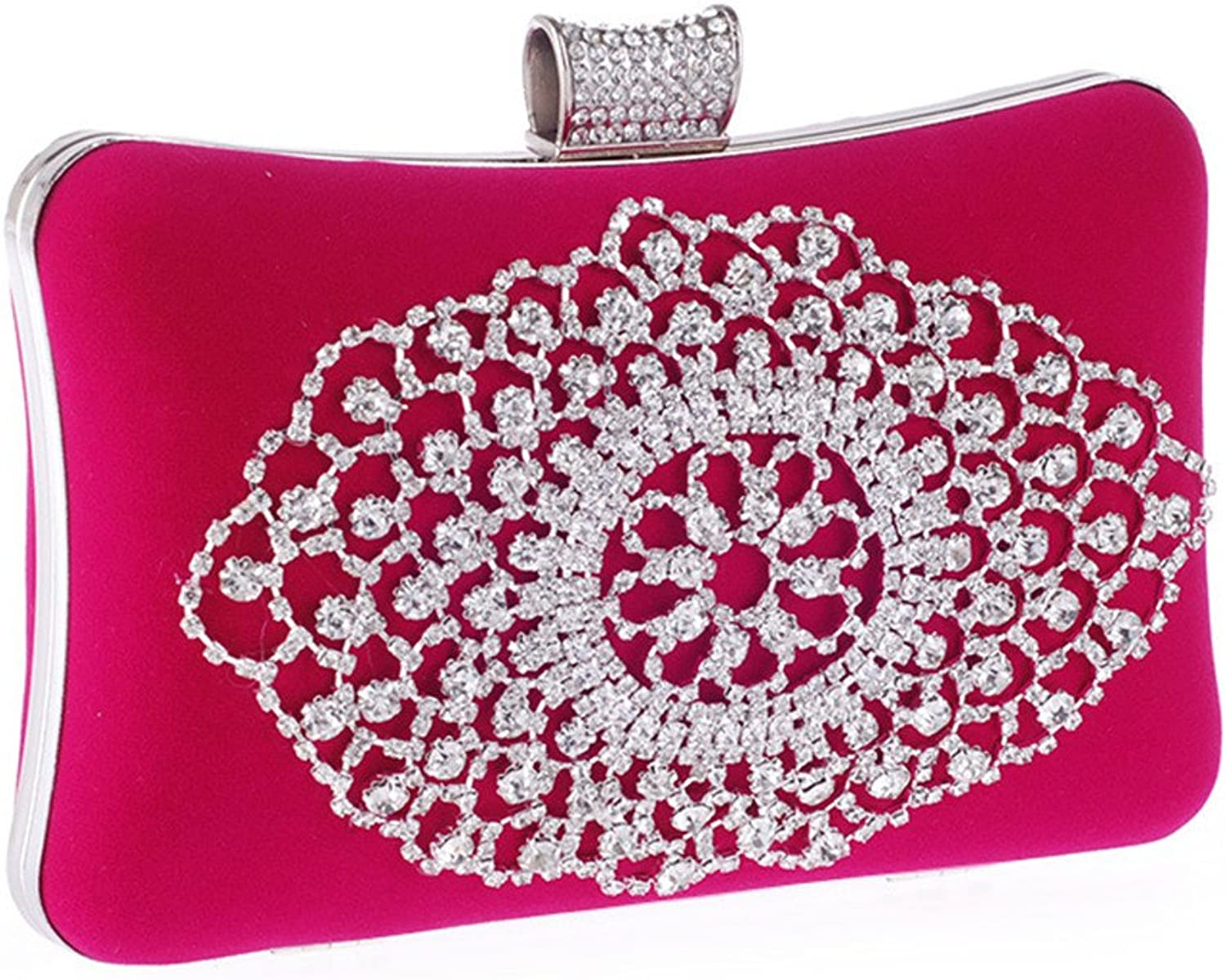 Missfiona Sparkly Crystal Beaded Velvet Evening Prom Clutch Hardbox for Wedding Bridal Formal Occasion