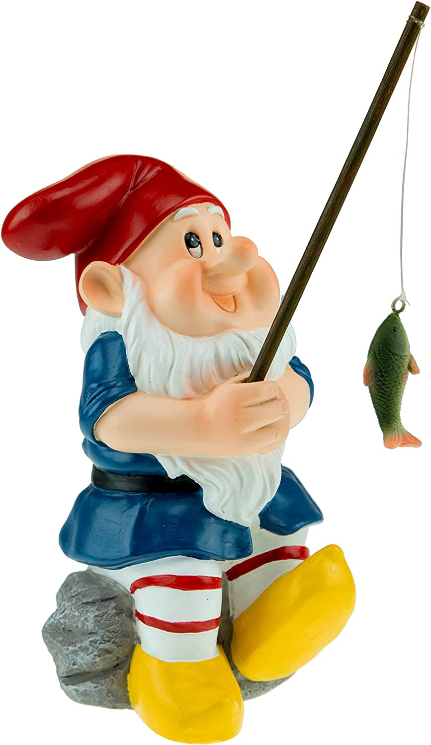 Garden Gnome Figurine Polyresin Statue for Lawn Ornaments, Indoor or Outdoor Decoration, 8 Inches Tall, Fisherman