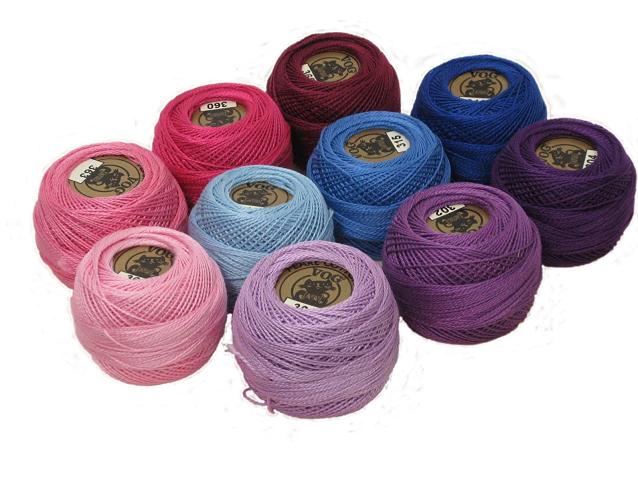 Vog Perle Cotton Size 8 Embroidery Threads - Set of 10 Balls (10gr Each) - Pink, Purple and Blue Shades (Set No. 1)