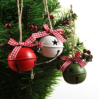 Yuehuam 6pcs Christmas Tree Ornaments Hanging Jingle Bells Metal Large Craft Bells with Holly Berries Ribbon for Christmas...