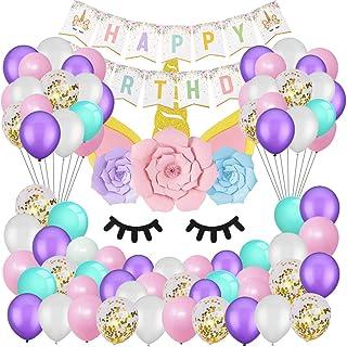 Unicorn Party Supplies Decorations, 82pcs Unicorn Backdrop, Happy Birtyday Banner, Balloon Set Prefect for Unicorn Theme P...